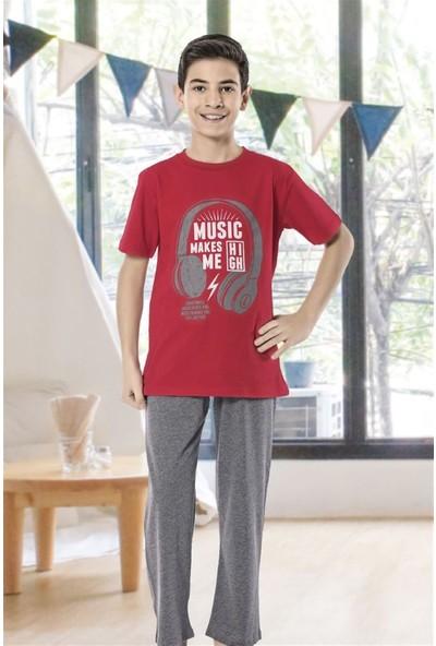 Hmd 7100 Music Erkek Çocuk Pamuklu Kısa Kol Pijama Takımı