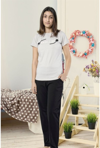 Hmd 8062 Minimalist Kız Çocuk Pamuklu Kısa Kol Pijama Takımı
