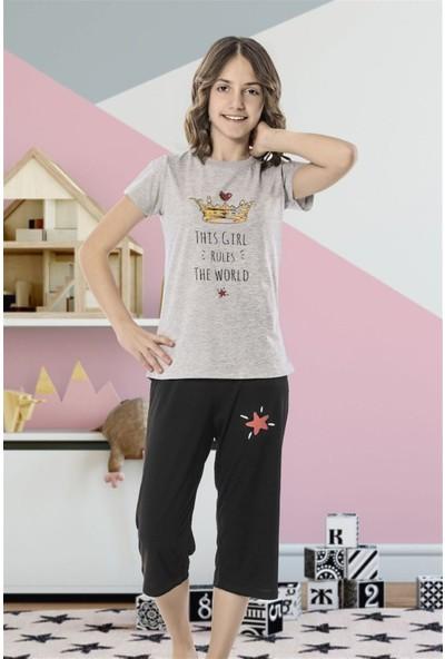 Hmd 8084 Girl Rules Kız Çocuk Pamuklu Kısa Kol Kapri Takım
