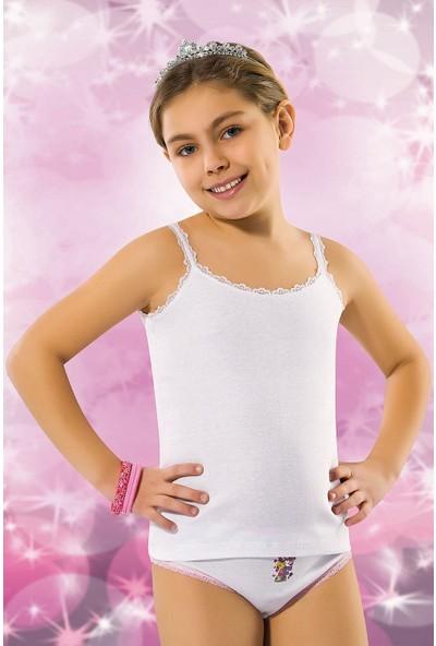 Kız Çocuk Ribana Pamuklu Dantelli Ip Askılı Atlet 6'lı Paket