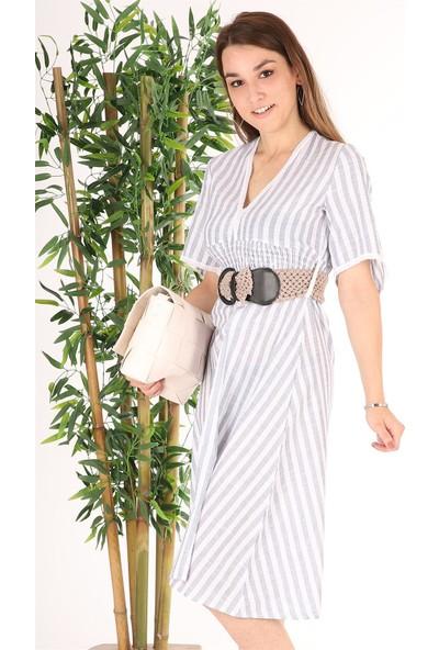 Melinka Butik Kemerli Midi Elbise - Çizgili