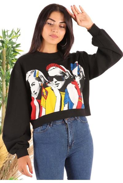 Melinka Butik Baskılı Sweatshirt- Siyah