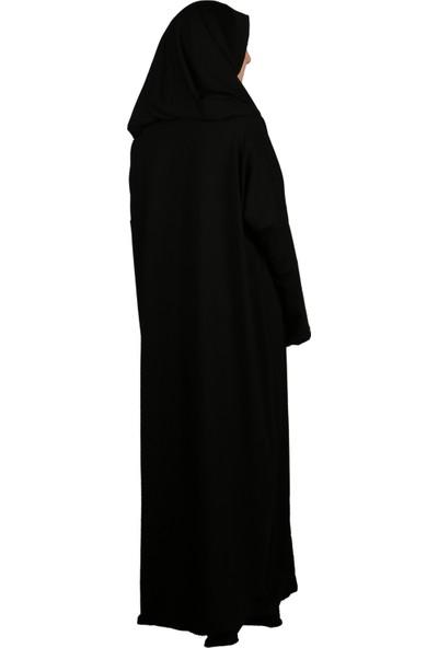 Asimetrik Penye Siyah Tek Parça Namaz Elbisesi