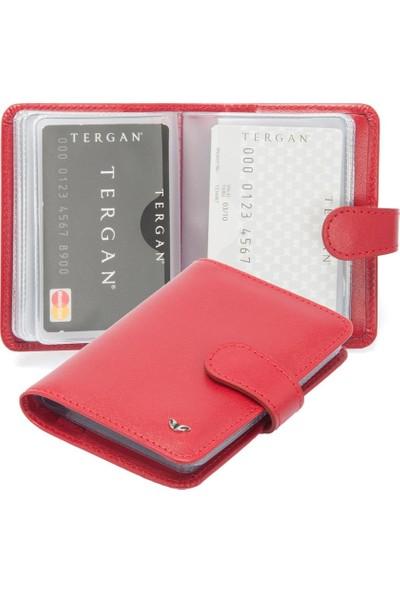 Tergan Kırmızı Deri Kredi Kartlık 01210C71