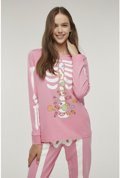 Penti Pembe Skeleton Pijama Takımı