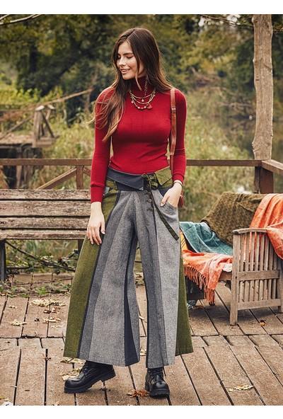 Los Banditos Düşük Bel Metal Düğmeli Kışlık Bol Paça Kadın Yeşil Pantolon L