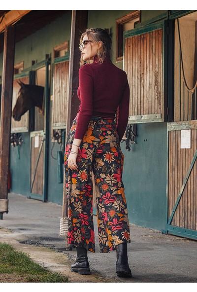 Los Banditos Çiçek Desenli Metal Düğmeli Kışlık Kadın Bol Paça Siyah Pantolon