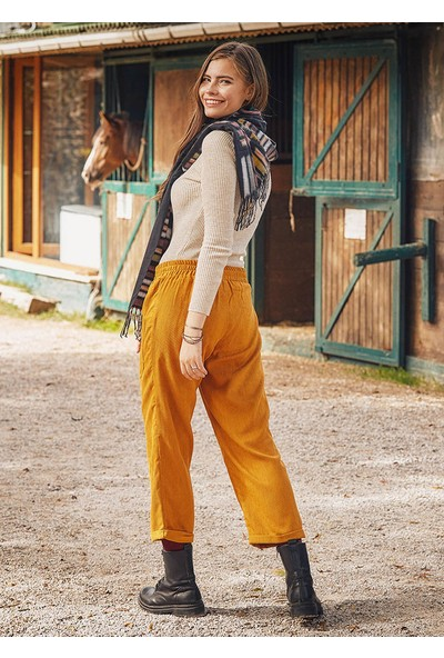 Los Banditos Cep Detaylı Lastikli Hardal Kadın Kışlık Pantolon