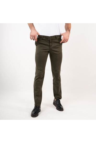 Ecer Regular Fit Kışlık Erkek Gabardin Pantolon Yeşil 40