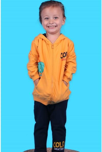 Breeze Erkek Çocuk Eşofman Takımı Dinozor Baskılı Hardal Sarı 1.5-5 Yaş