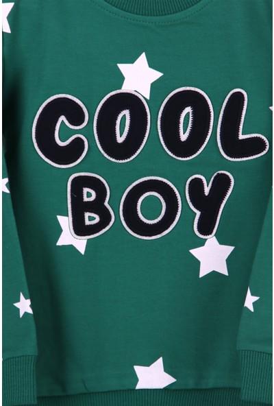 Breeze Erkek Çocuk Eşofman Takımı Yıldızlı Nakışlı Yeşil 1.5-5 Yaş
