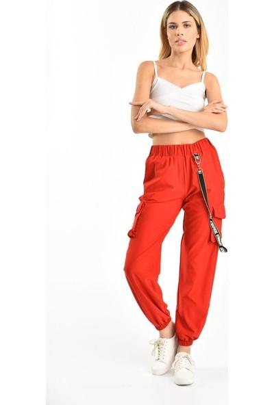 Modkofoni Belden Lastikli Yandan Cepli Kırmızı Kargo Pantolon 42