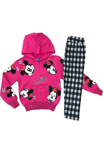Disney Mickey Mouse Love Yazılı 2li Eşofman Takımı Fuşya