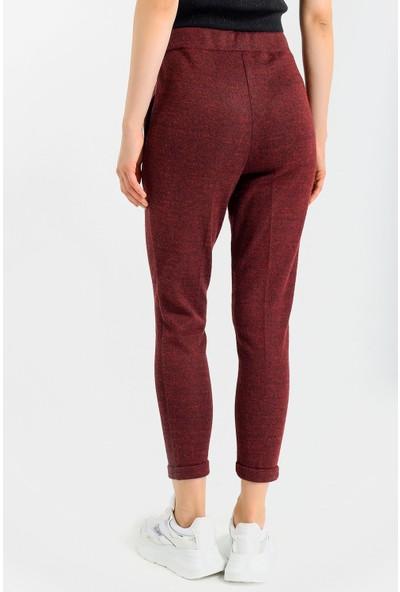 Jument Cepli Desenli Yüksek Bel Rahat Kışlık Pantolon-Bordo Ekose 34