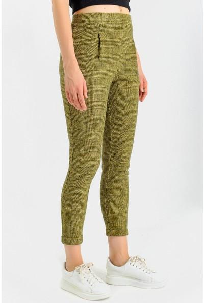 Jument Cepli Desenli Yüksek Bel Rahat Kışlık Pantolon-Hardal Ekose 40