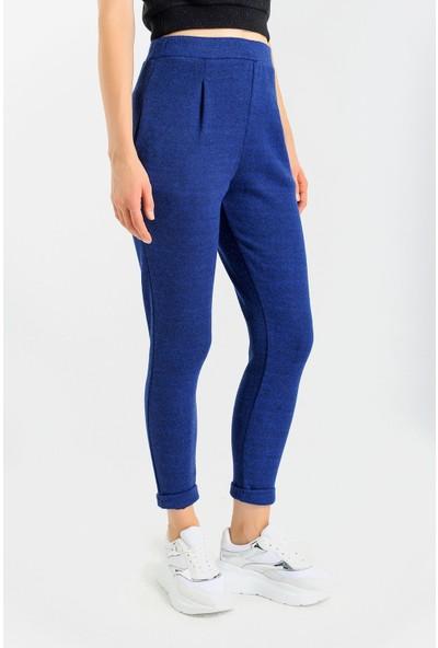 Jument Cepli Desenli Yüksek Bel Rahat Kışlık Pantolon-Indigo 34