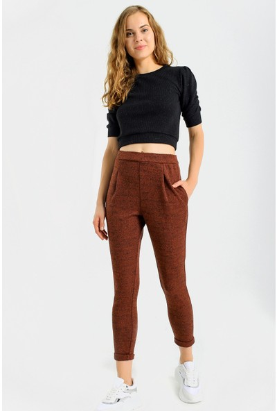 Jument Cepli Desenli Yüksek Bel Rahat Kışlık Pantolon-Kiremit 42
