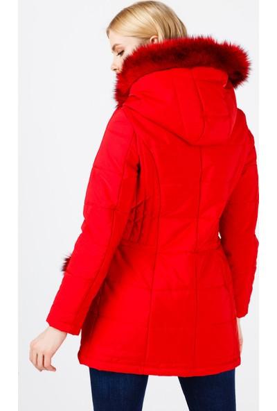Ekol Kadın Kapüşonlu Kürklü Şişme Mont 6058009 Kırmızı