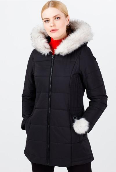 Ekol Kadın Kapüşonlu Kürklü Şişme Mont 6058009 Siyah