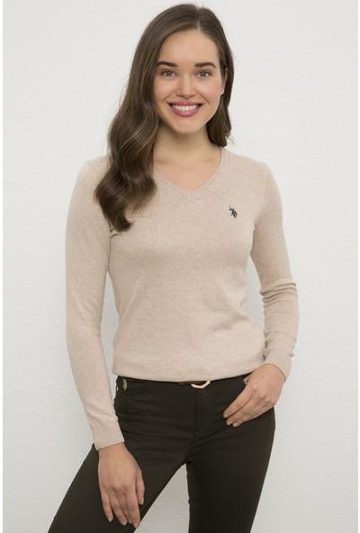 U.S. Polo Assn. Kadın Beyaz Triko Kazak Basic 50226698-VR011