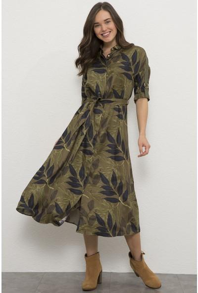 U.S. Polo Assn. Kadın Yeşil Dokuma Elbise 50225849-VR027