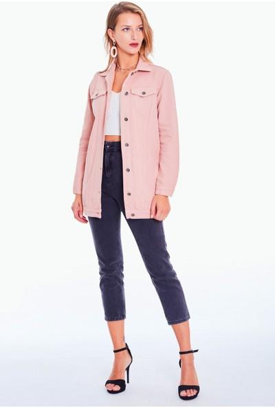 Vintage Denim Kadın Pembe Uzun Kot Ceket