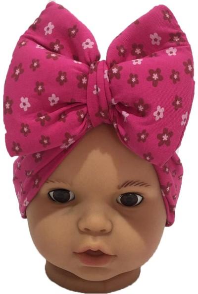 Özlem Bebe Fuşya Çiçek Fiyonklu Kız Bebek Bone