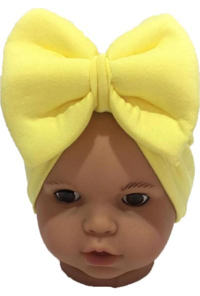 Özlem Bebe Sarı Fiyonklu Kız Bebek Bone