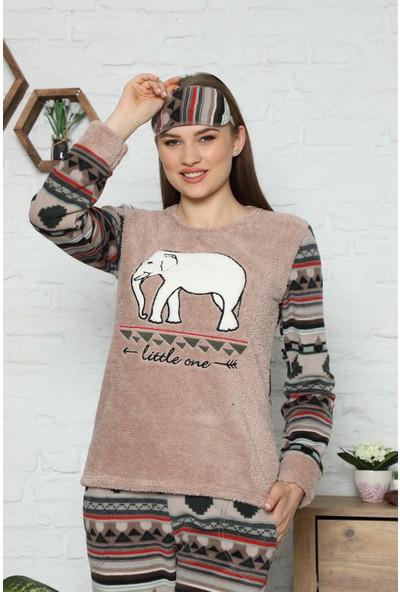 Arcankumaş Pelüş Göz Bandı Çorap Fil Nakış Detaylı Pijama Takımı 1152-37