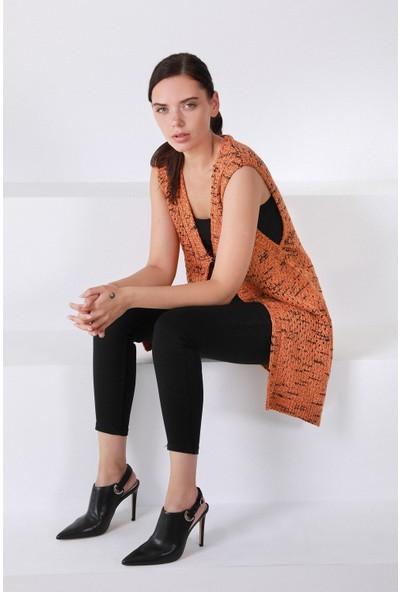 Ferraro Orange V Yaka Yünlü Kadın Triko Yelek