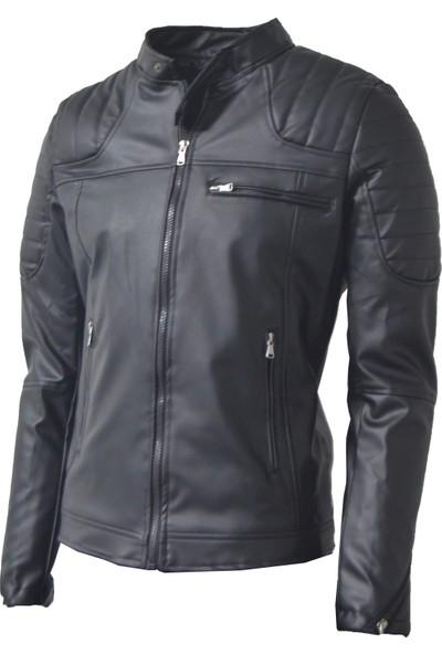 DCS Collection Slim Fit Dar Kesim Omuz Detaylı Erkek Deri Ceket Mont 7001