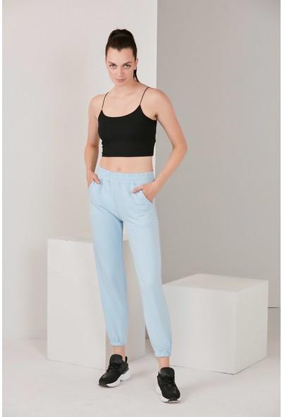 Catspy Kadın Mavi Basic Jogger Örme Eşofman Altı