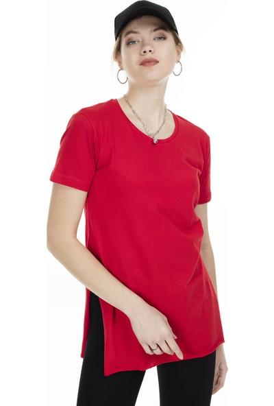 Lela Yandan Yırtmaçlı Bisiklet Yaka T Shirt Kadın T Shirt 5411063