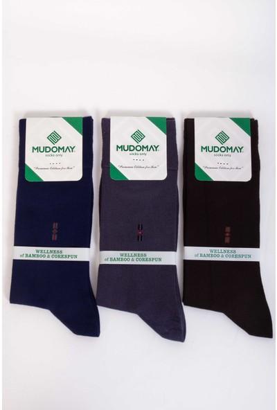 Mudomay 6'lı Bambu Corespun Mevsimlik Erkek Çorap Renkli 41 - 44