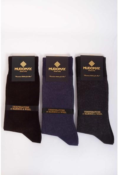 Mudomay 6'lı Bambu Yün Kışlık Erkek Çorap Renkli 41 - 44