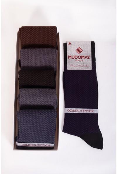 Mudomay 6'lı Pamuk Penye Mevsimlik Erkek Çorap Renkli 41 - 44