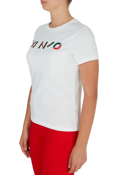 Kenzo Baskılı Bisiklet Yaka Pamuk Kadın T Shirt Fa6 2TS840 4sj 01