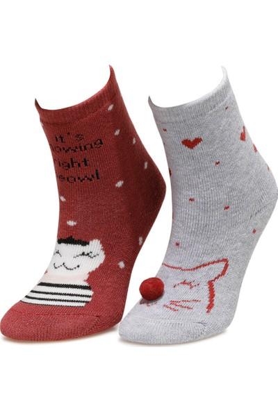 I Cool Caty 2Li Havlu Skt-G A Gri Mel Kız Çocuk Soket Çorap