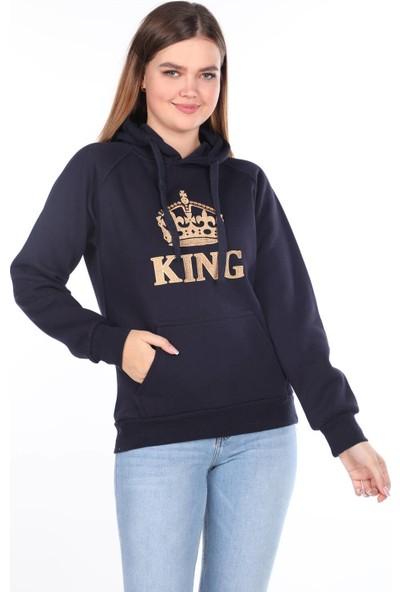 Markapia Woman King Aplikeli Içi Polarlı Kapüşonlu Sweatshirt