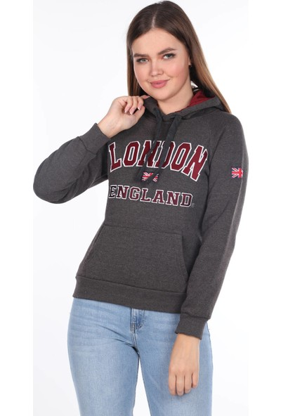 Markapia Woman London England Aplikeli Içi Polarlı Kapüşonlu Sweatshirt