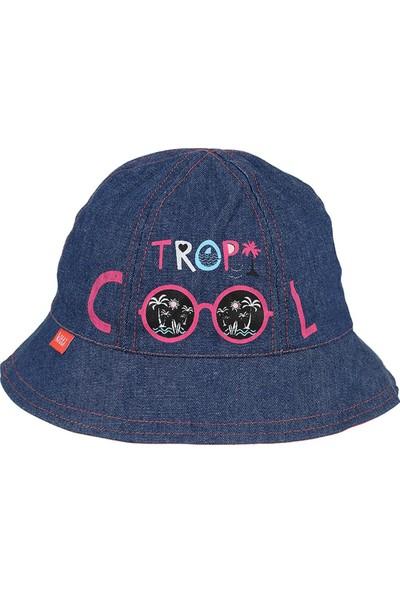 Kitti Kız Çocuk Maksi Şapka 4-8 Yaş Mavi