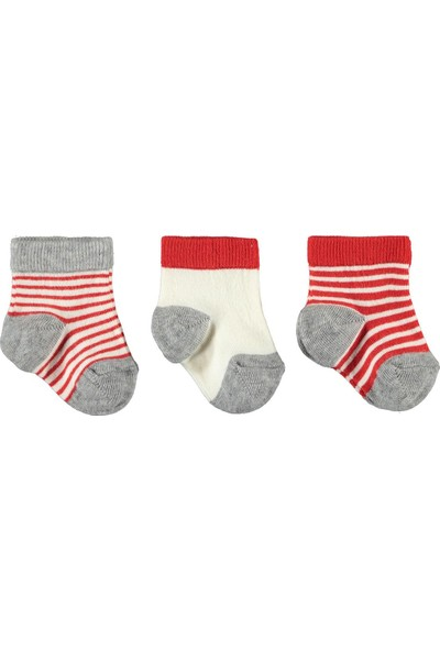 Civil Baby Erkek Bebek 3'lü Çorap Set 0-12 Ay Kırmızı-Gri