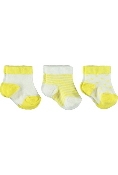Civil Baby Kız Bebek 3'lü Çorap Set 0-18 Ay Sarı