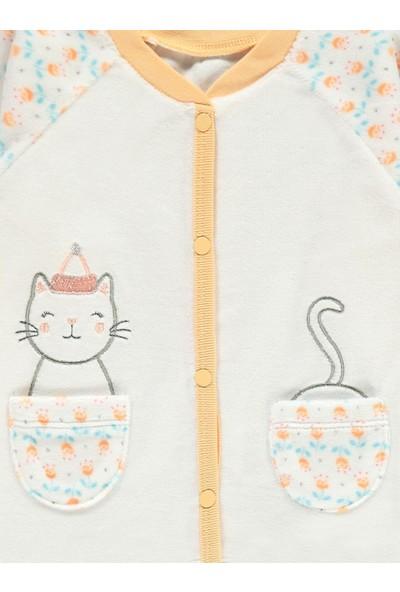 Kujju Kız Bebek Patikli Pijama Takımı 3-6 Ay Somon