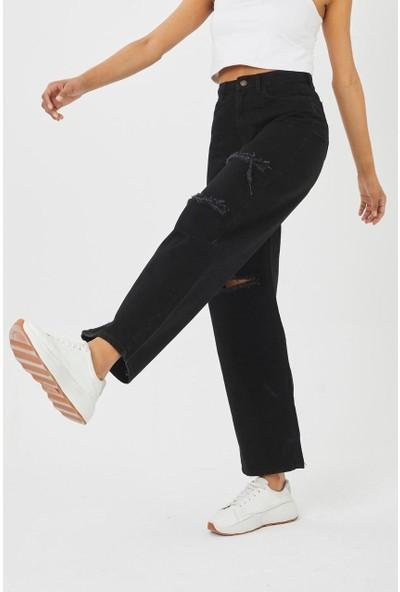 Şimal Kadın Siyah Yırtık Detaylı Jean Pantolon