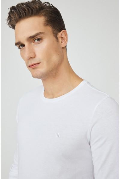 Avva Erkek Beyaz Bisiklet Yaka Düz Uzun Kol T-Shirt E001002
