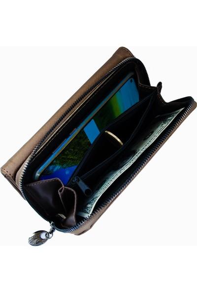 Lederax LD163 Prada Deri Kadın El Cüzdanı Telefon Bölmeli