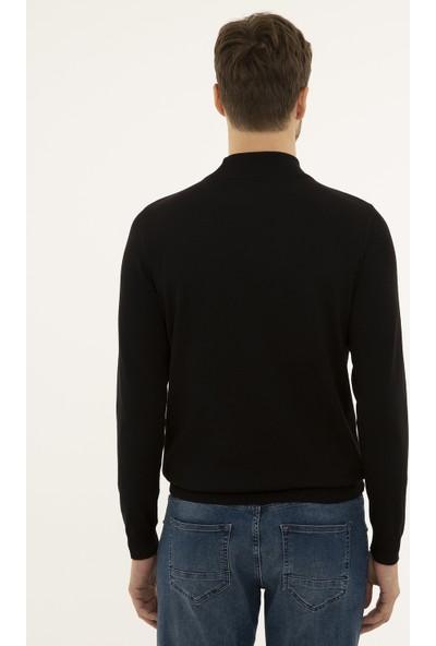 Pierre Cardin Erkek Siyah Slim Fit Yarım Balıkçı Yaka Basic Triko Kazak 50230807-VR046