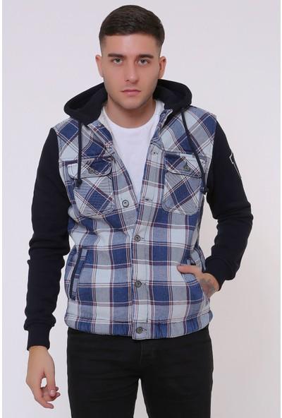 Little Cup Jeans Co Kollar Polar Içi Kürklü Kapüşonlu Bej Ekose Erkek Kot Ceket