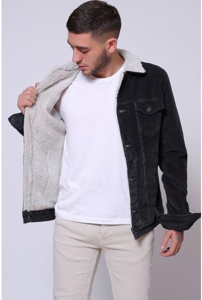 Little Cup Jeans Co Ince Fitil Kadife Içi Kürklü Düğmeli Siyah Ceket